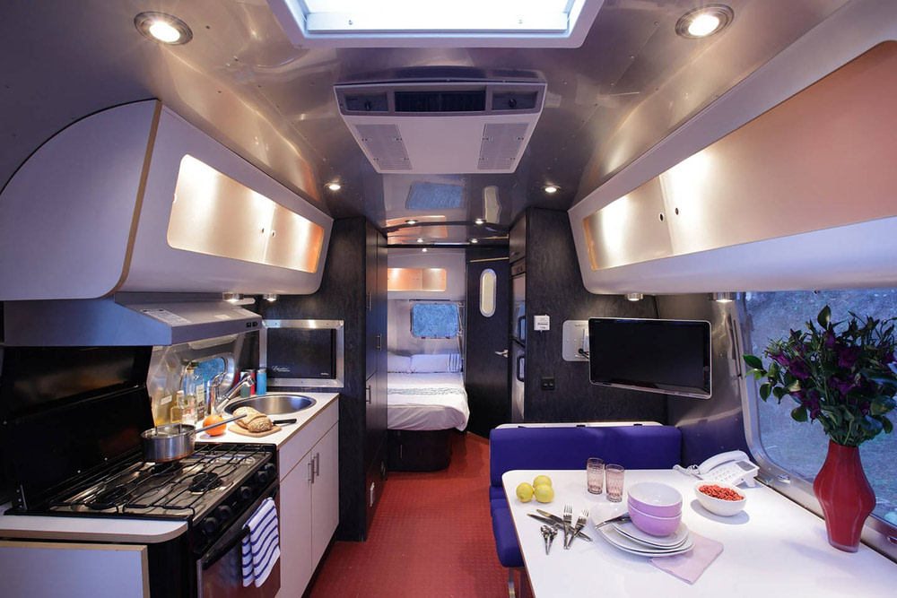 Modern interiors in a vintage airstream