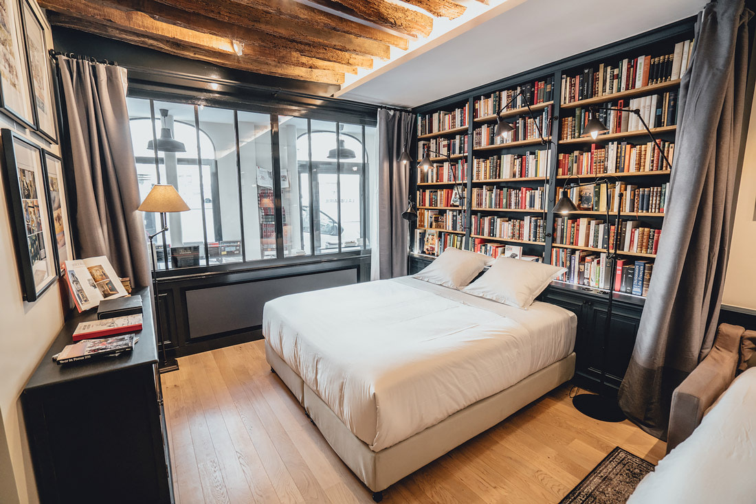 Former bookstore turned hotel room