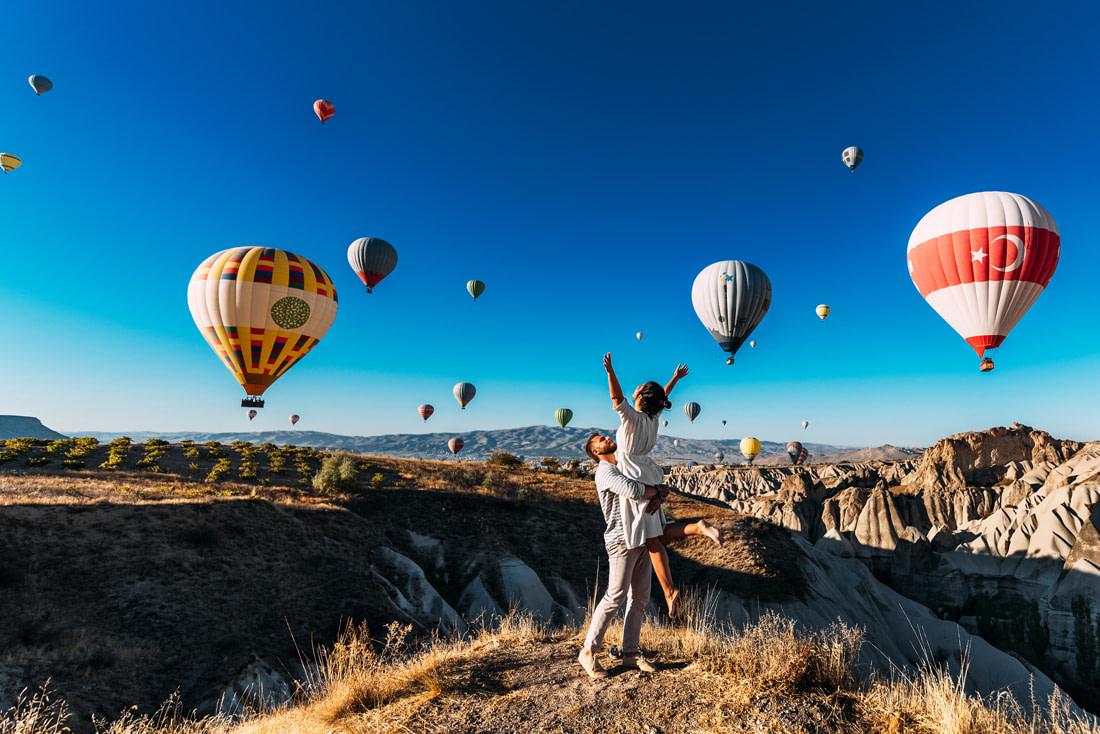 Watching the balloons in Cappadocia