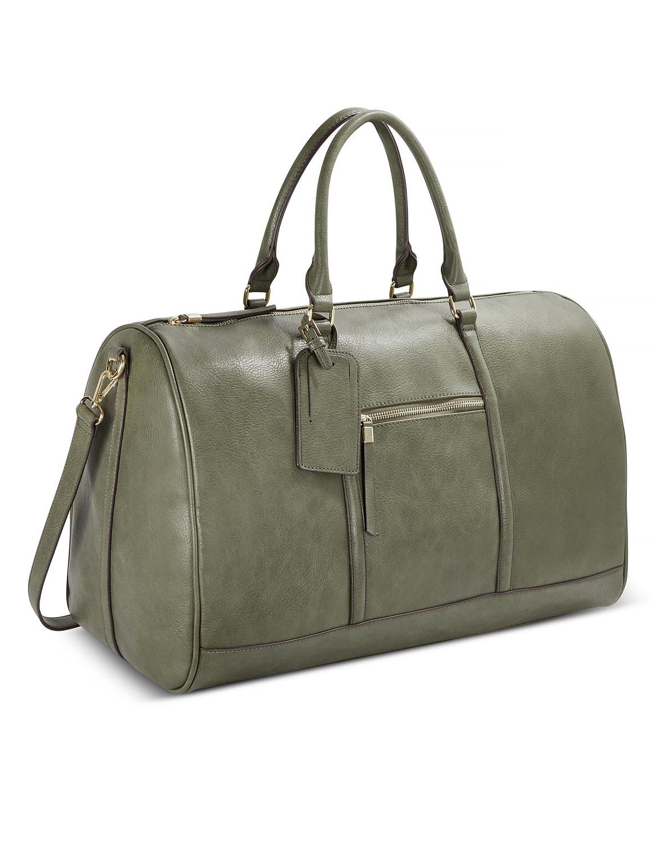 Faux leather weekender bag