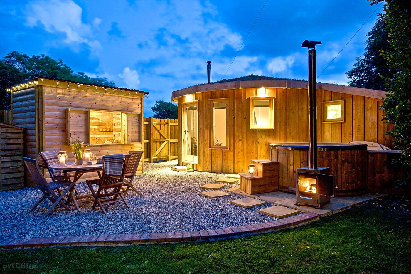 Yurt-shaped wooden cabin
